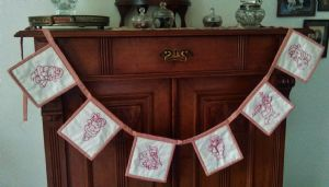 Red work mini Christmas bunting